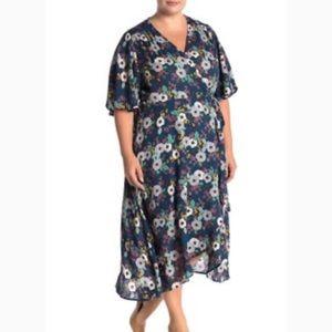 Bobeau Blue Floral Wrap Blue Midi Dress 1X Boho